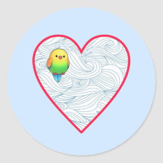 Cute baby bird on sweet red heart classic round sticker