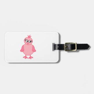 Cute Baby Bird, Pink. Luggage Tag