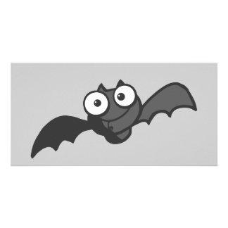 CUTE BABY BLACK BAT CARTOON FLYING HAPPY FUN PHOTO CARDS