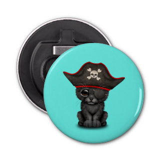 Cute Baby Black Panther Cub Pirate Bottle Opener