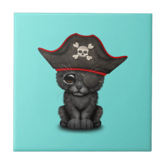 Cute Baby Black Panther Cub Pirate Ceramic Tile