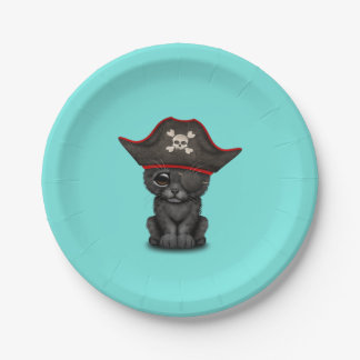 Cute Baby Black Panther Cub Pirate Paper Plate