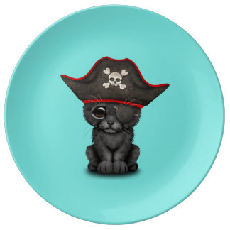 Cute Baby Black Panther Cub Pirate Plate