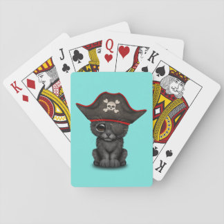 Cute Baby Black Panther Cub Pirate Playing Cards