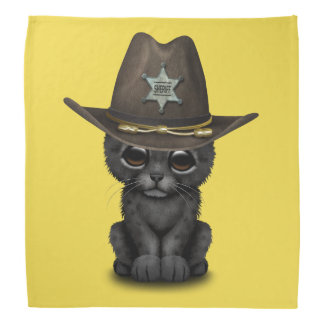 Cute Baby Black Panther Cub Sheriff Bandana