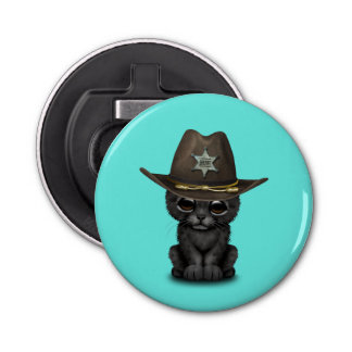 Cute Baby Black Panther Cub Sheriff Bottle Opener