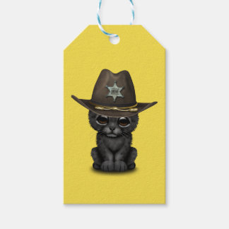 Cute Baby Black Panther Cub Sheriff Gift Tags