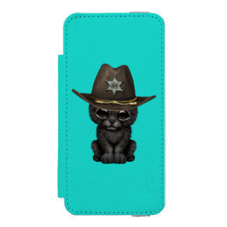 Cute Baby Black Panther Cub Sheriff Incipio Watson™ iPhone 5 Wallet Case