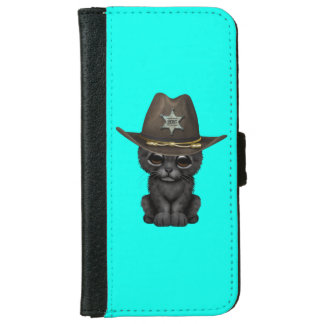 Cute Baby Black Panther Cub Sheriff iPhone 6 Wallet Case