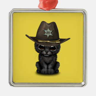 Cute Baby Black Panther Cub Sheriff Metal Ornament