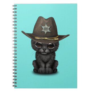 Cute Baby Black Panther Cub Sheriff Notebook