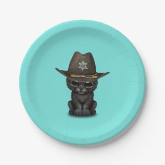 Cute Baby Black Panther Cub Sheriff Paper Plate