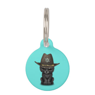 Cute Baby Black Panther Cub Sheriff Pet ID Tag