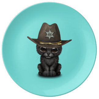 Cute Baby Black Panther Cub Sheriff Plate