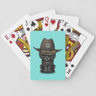 Cute Baby Black Panther Cub Sheriff Playing Cards