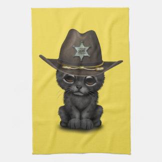 Cute Baby Black Panther Cub Sheriff Tea Towel