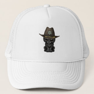 Cute Baby Black Panther Cub Sheriff Trucker Hat