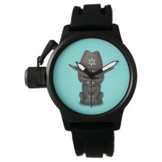 Cute Baby Black Panther Cub Sheriff Watch