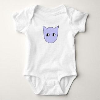 Cute Baby Blue Cartoon Cat Face Bodysuit