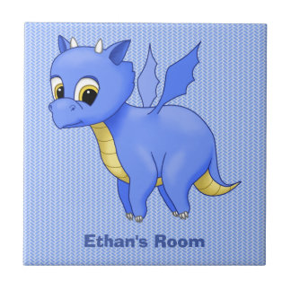 Cute Baby Blue Dragon Ceramic Tile