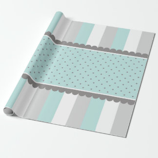 Cute Baby Blue & Gray Stripes and Polka Dots