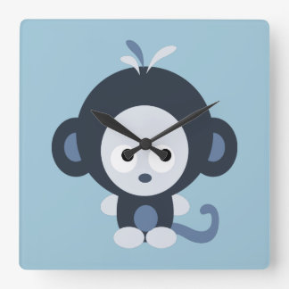 Cute Baby Blue Monkey Clocks