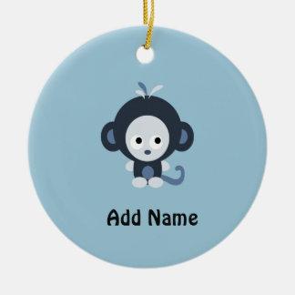 Cute Baby Blue Monkey Round Ceramic Decoration