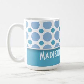 Cute Baby Blue Polka Dots Basic White Mug
