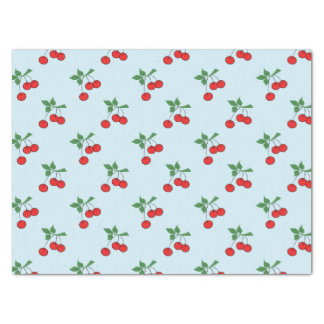 Cute Baby Blue Red Cherry Graphic Modern Cherries Tissue Paper