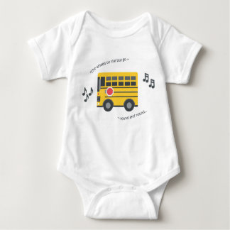 Cute baby bodysuit nursery rhyme wheels on the bus