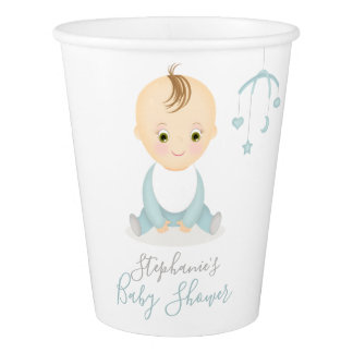 Cute Baby Boy and his Mobile Baby Shower Paper Cup