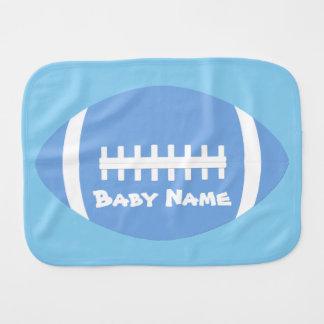 Cute Baby Boy Baby Blue Football Custom Name/Text Burp Cloth