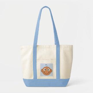 Cute Baby Boy. Blue Check Background. Canvas Bag