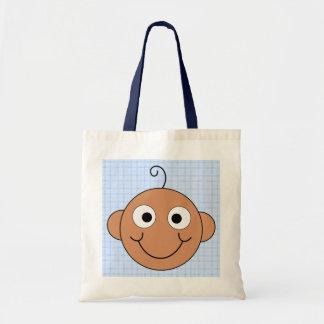 Cute Baby Boy. Blue Check Background. Bag