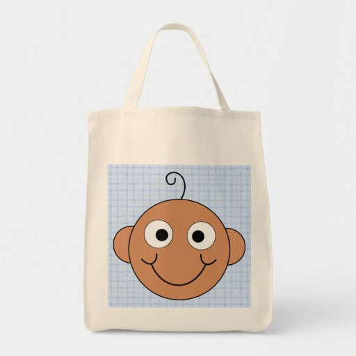 Cute Baby Boy. Blue Check Background. Tote Bag