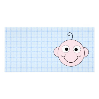 Cute Baby Boy. Blue Check Background. Customized Photo Card