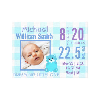 Cute baby boy blue stats with photo canvas print