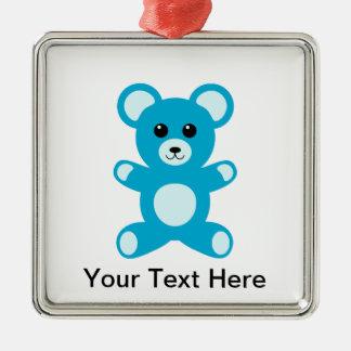 Cute Baby Boy Blue Teddy Bear Metal Ornament