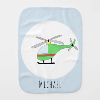 Cute Baby Boy Colorful Doodle Helicopter with Name Burp Cloth