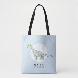 Cute Baby Boy Dinosaur with Name Diaper Tote Bag
