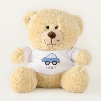 Cute Baby Boy Doodle Blue Car with Name Teddy Bear