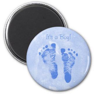 Cute Baby Boy Footprints Birth Announcement 6 Cm Round Magnet