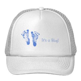 Cute Baby Boy Footprints Birth Announcement Cap