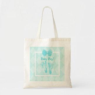 Cute Baby Boy Footprints Blue Ribbon Canvas Bags