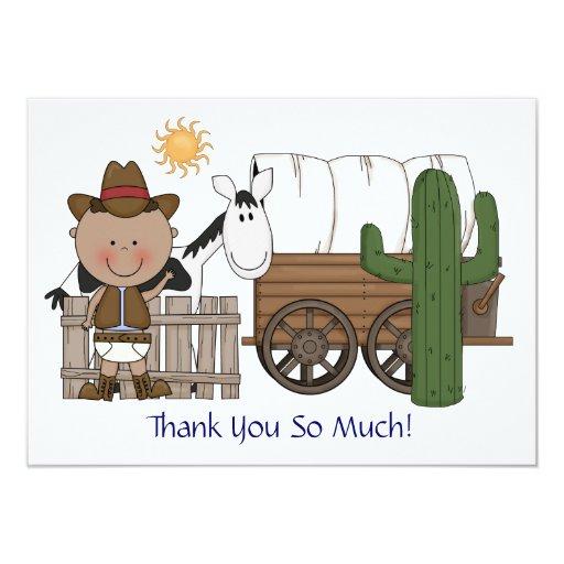 Cute Baby Boy Horse Pony Custom Western Thank You Personalized Invitation