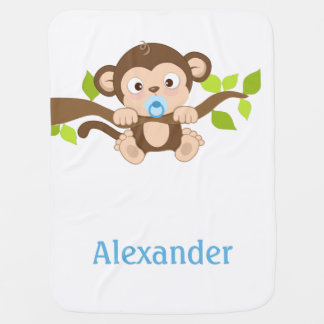 Cute Baby Boy Monkey Baby Blanket