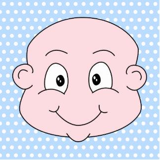 Cute Baby Boy, on blue polka dot pattern. Photo Sculpture Badge