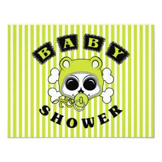 Cute Baby Boy Skull - Lime Green 11 Cm X 14 Cm Invitation Card