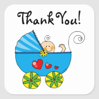 Cute baby boy thank you square stickers