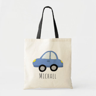 Cute Baby Boy's Car Vehicle and Name Tote Bag